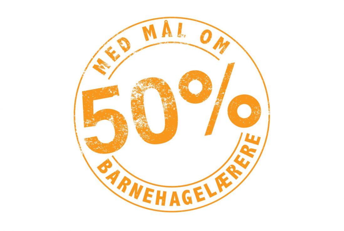 50 prosent barnehagelærere ikon